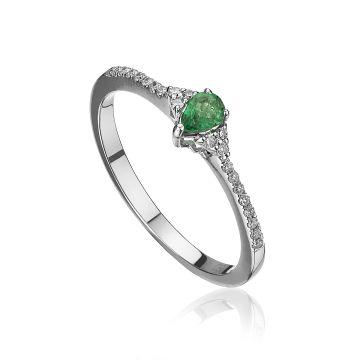 Inel din aur alb cu smarald para si diamante