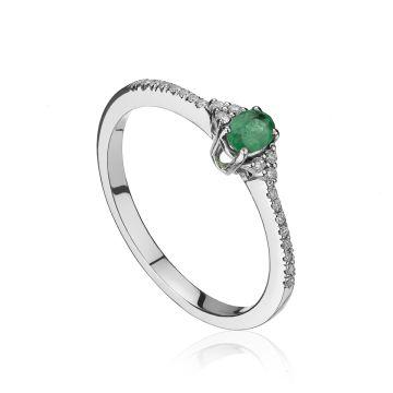Inel din aur alb cu smarald oval si diamante