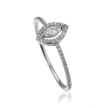 Inel din aur alb cu diamant central marquise