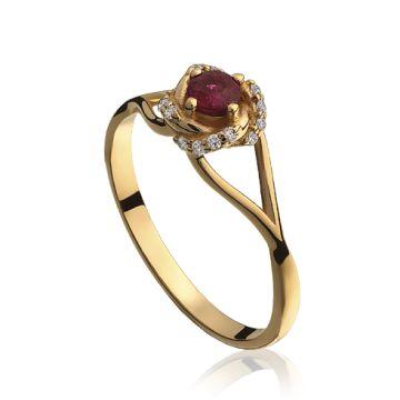 Inel cu rubin rotund si diamante