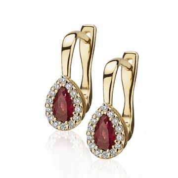 Cercei aur cu rubine para si diamante