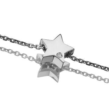 Bratara din aur cu charm stea si diamant