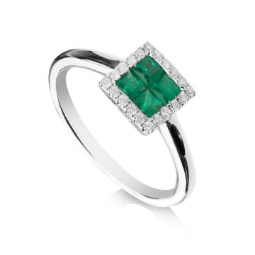 Inel cu smaralde si diamante
