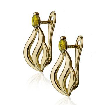 Cercei din aur galben cu cristal marquise