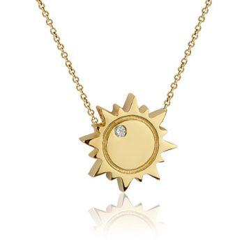 Colier din aur cu soare si diamant