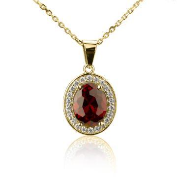 Pandantiv din aur cu cristal oval rosu