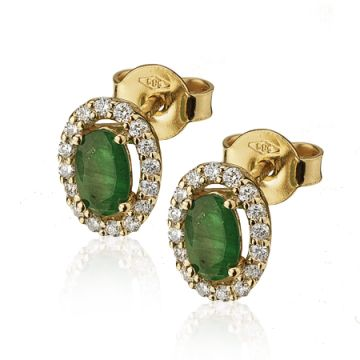 Cercei cu smarald oval si diamante