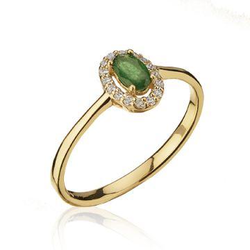 Inel cu smarald oval si diamante