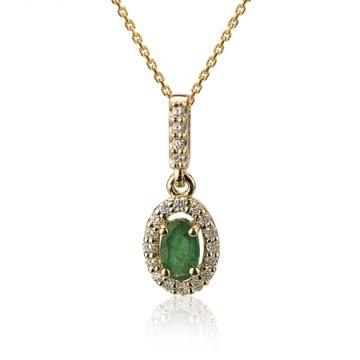 Pandantiv din aur cu smarald oval si diamante
