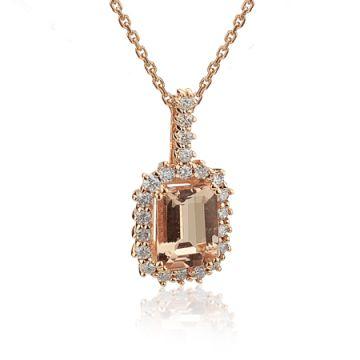 Pandantiv din aur cu morganit si diamante
