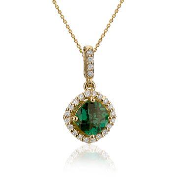 Pandantiv din aur cu smarald recristalizat