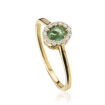 Inel cu smarald verde deschis