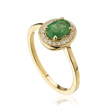 Inel cu smarald verde halo si diamante