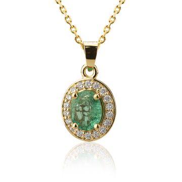 Colier halo smarald si diamante