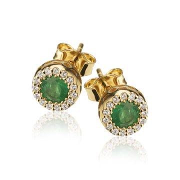 Cercei cu smarald halo si diamante