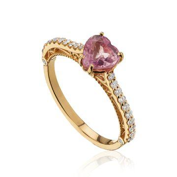 Inel cu safir inima roz si diamante