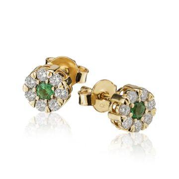 Cercei rosetta cu smaralde si diamante