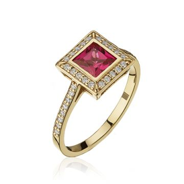 Inel patrat cu rubin si diamante