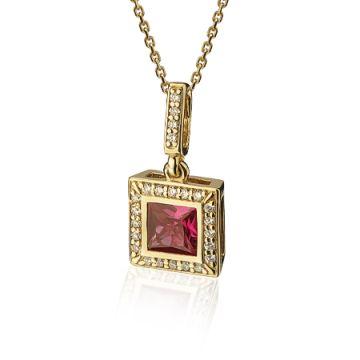 Colier cu rubin patrat si diamante