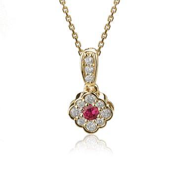 Pandantiv cu rubin rotund si diamante