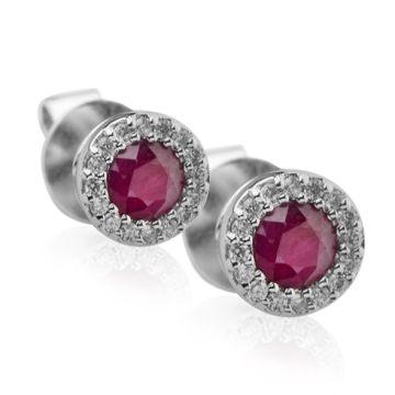 Cercei cu rubine si diamante