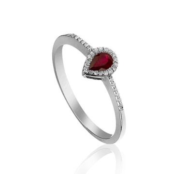 Inel din aur cu rubin para si diamante
