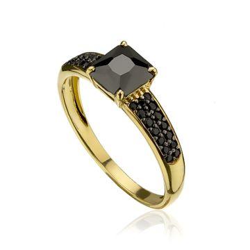 Inel pentru doamne cu cristale negre