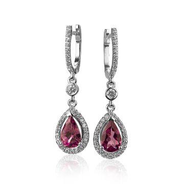 Cercei cu turmaline roz si cristale swarovski