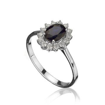 Inel din aur alb cu safir oval si diamante